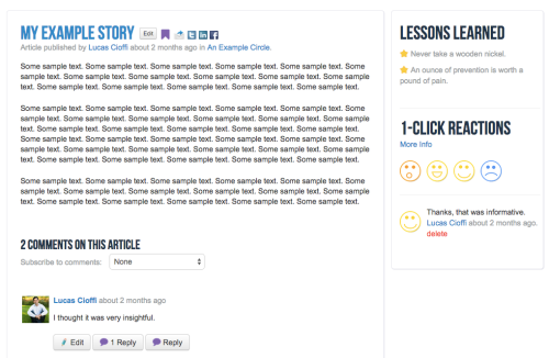 Members can write articles and stories in a standard blog format.