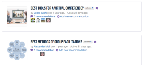 The QiqoChat recommendations tool is an effective way for a group to brainstorm.