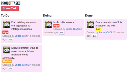 screenshot of tracking project tasks on QiqoChat